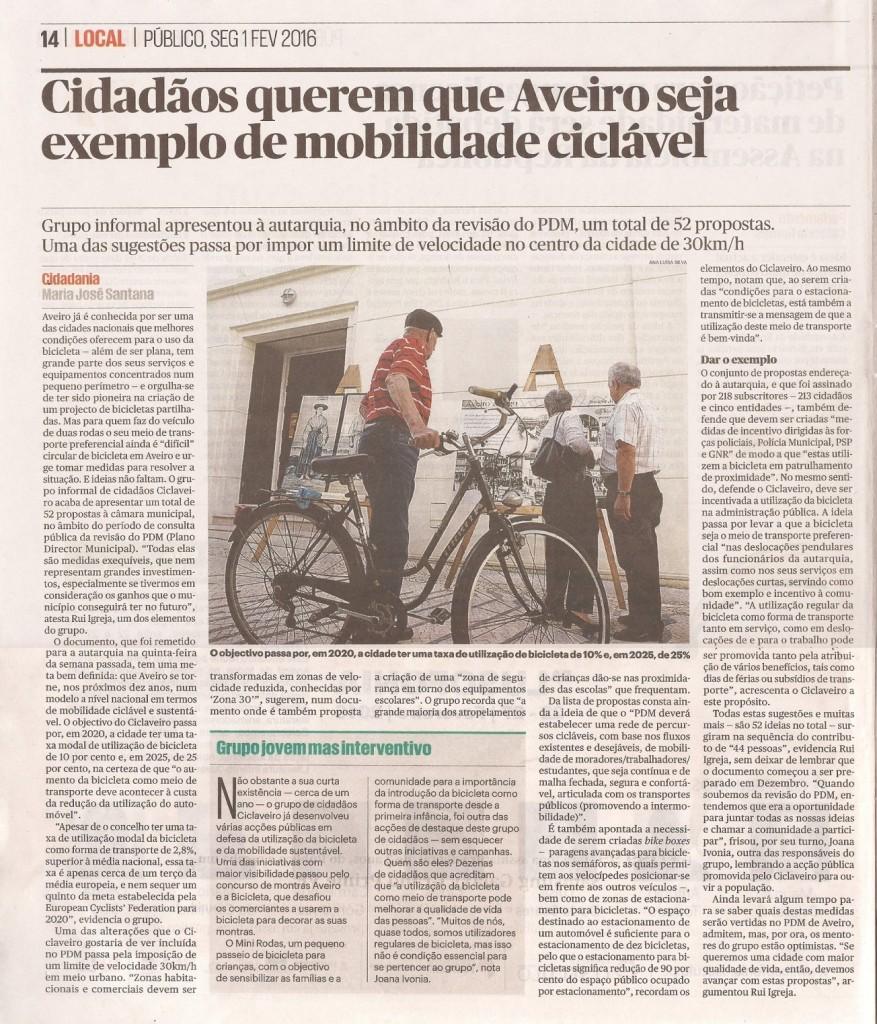 20160201_Público_Cidadãos querem que Aveiro seja exemplo nacional de mobilidade ciclável_scandojornal